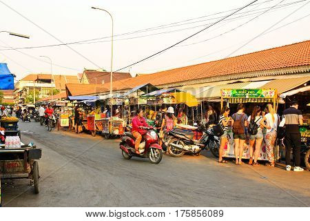 SIEM REAP CAMBODIA - MARCH 02:Old Market on March 02 2017 in Siem Reap. Siem Reap is Cambodia's main tourist citiesWorld Seven Wonders of Angkor Wat in Siem Reap.