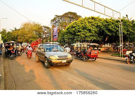 SIEM REAP CAMBODIA - MARCH 02 2017: Life in the centre of Siemreap Cambodia. Siem Reap is the capital city of Siem Reap Province and a popular resort town as the gateway to Angkor region