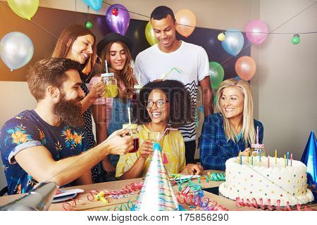Friends Celebrating A Birthday For Party