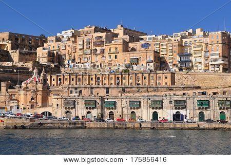 view from sea towards capital city La Valletta on island Malta