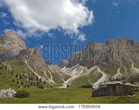 high mountain blue sky view in dolomiten dolomites dolomiti Italy