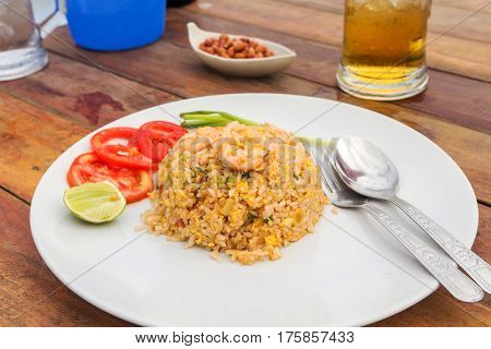 Fried rice with shrimp and side dishes