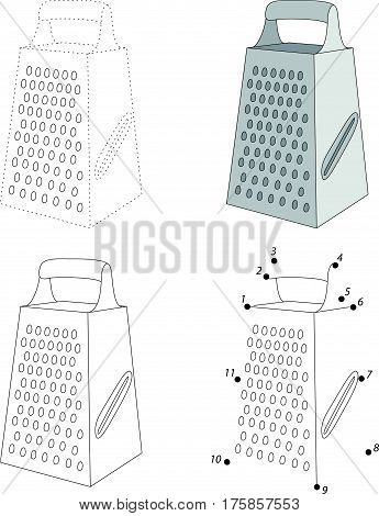 Cartoon Grater. Dot To Dot Game For Kids