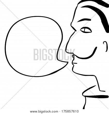Cartoon human face with text bubble vector illustration. Man with mustache and black hair with speech bubble. Salvador Dali portrait. Hand-drawn person speaking. Comic style character with text place