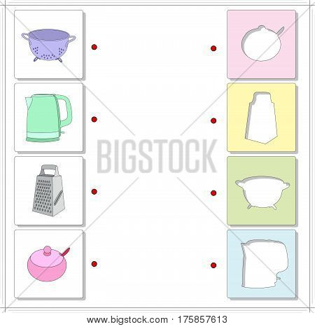 Colander, Electric Kettle, Metal Grater And Sugar Bowl. Educational Game For Kids