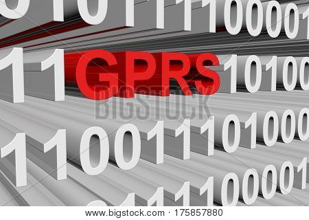 gprs in the form of binary code, 3D illustration