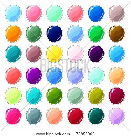 Multicolored glass buttons on white background. Blank vector buttons for web design or game graphic. Colorful marbles or candies. Empty bubbles for text or word. Board pins isolated. Website stickers