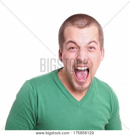 young man with goatee beard shouting isolated on white