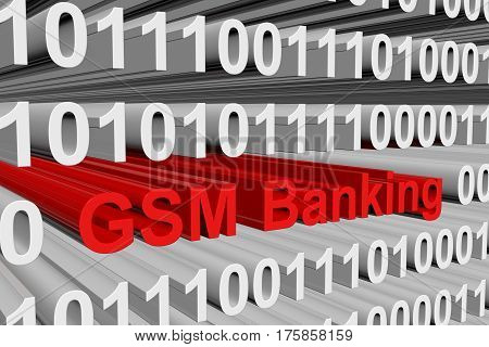 gsm banking is presented in the form of binary code 3d illustration
