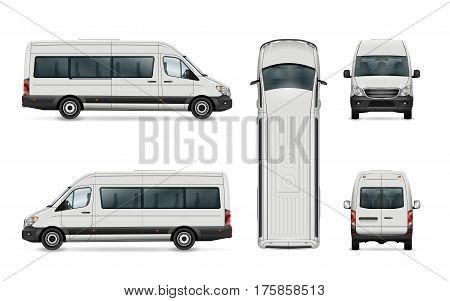 White van vector template. Isolated passenger mini bus. All elements in the groups have names the view sides are on separate layers. There is the ability to easily editing.
