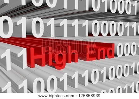 high end presented in the form of binary code 3d illustration