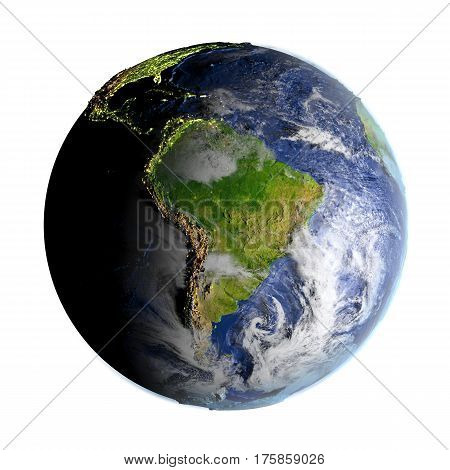 South America On Earth Isolated On White