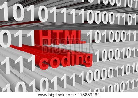 html coding is presented in the form of binary code 3d illustration
