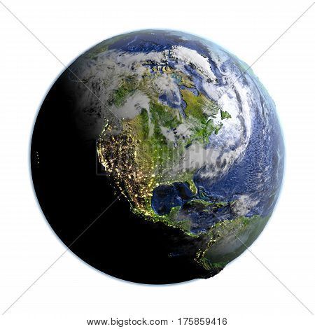 North America On Earth Isolated On White
