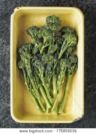 close up of a tray of broccolini