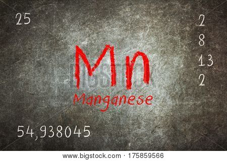Isolated Blackboard With Periodic Table, Manganese