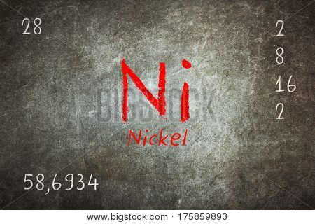 Isolated Blackboard With Periodic Table, Nickel