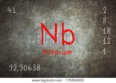 Isolated Blackboard With Periodic Table, Niobium