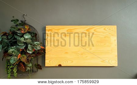 wooden plate on wall and background .