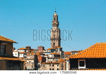 Clerigos tower at downtown of Porto, Portugal.