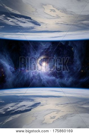 Fantasy image of mirrored Earths symbolizing parallel universes. The V1331Cyg star is shown on the Sword of Orion.