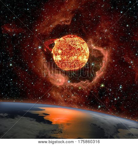 Sunrise over the planet Earth. The Sun in eruption appears on the RCW 79 in the southern Milky Way in the Centaurus constellation in background.