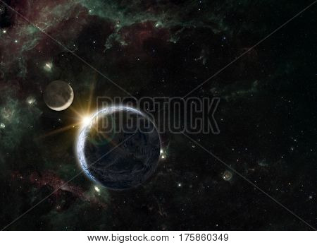 Fantasy composition of the planet Earth and his natural satellite the Moon on a background showing the Swan Winging in the Cygnus constellation.