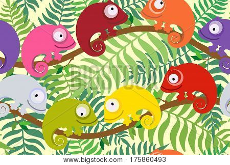 Set of cute, colorful chameleon on a background of leaves of a plant. Suitable for children's playrooms, wallpaper, wrapping paper, textile.