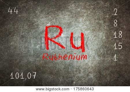 Isolated Blackboard With Periodic Table, Ruthenium