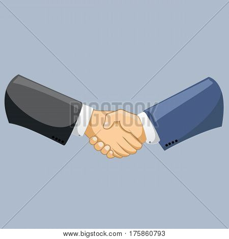 Business man shaking hands. Strong and firm handshake clap. Modern flat style vector illustration isolated on blue background.