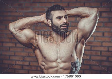 Brutal Caucasian Handsome Fitness Men On Diet Training Chest Pumping