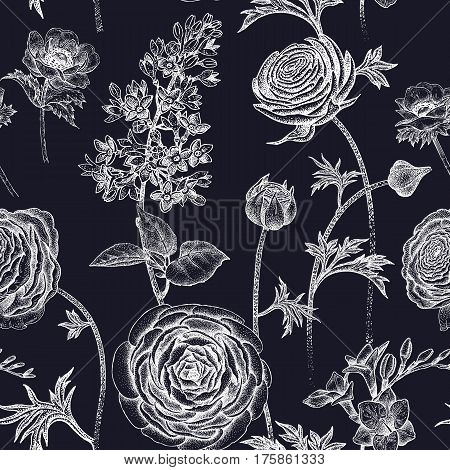 Spring flowers seamless floral pattern. Hand drawing garden plants buttercup lilac freesia anemone white chalk on blackboard. Vector vintage illustration. For wrapping fabric fashion paper.