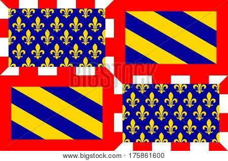 Flag of Burgundy historical area and the region of east-central France. Administrative center - the city of Dijon. Vector illustration