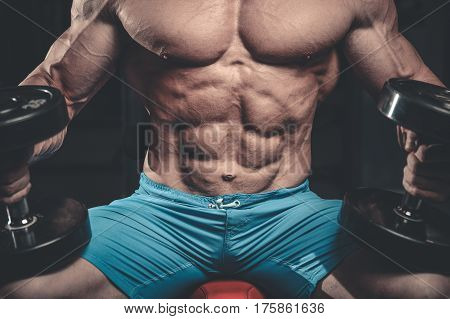 Caucasian Sexy Fitness Male Model Execute Exercise With Dumbbells