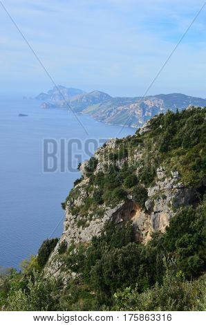 Gorgeous winding coastline and rolling hills along Italy's Amalfi Coast.