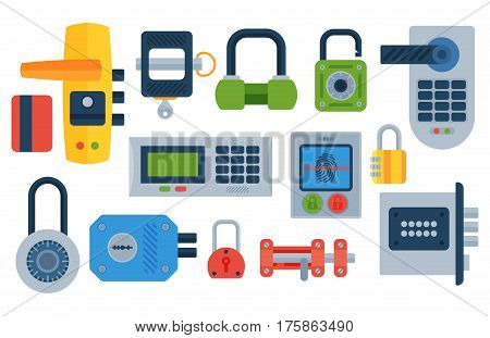Different house door lock icons set vector safety password privacy element with key and padlock, protection security keyhole vector illustration. Locker close safeguard modern firewall equipment.