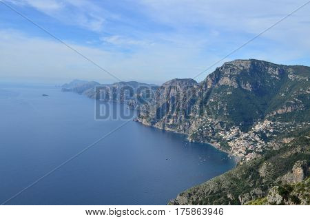 Rocky rolling hills along the Amalfi Coast in Italy.