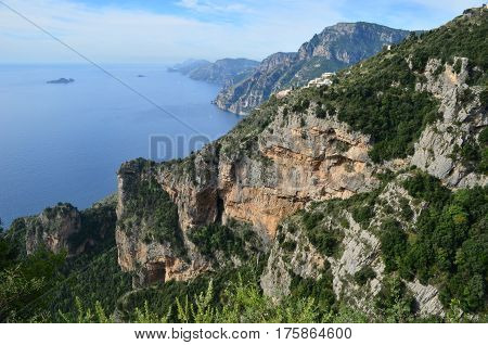 Beautiful view of Italy's Amalfi coast and the Mediterranean.