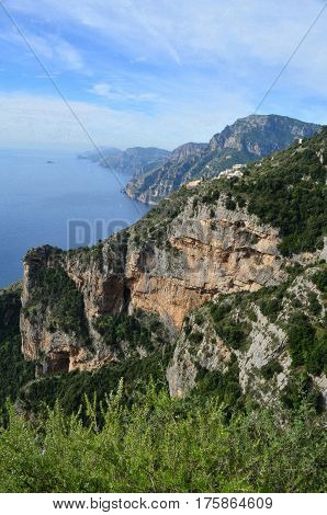 Gorgeous hills and sea cliffs along Italy's Amalfi Coast.