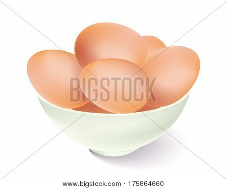 Bowl of brown eggs on white background
