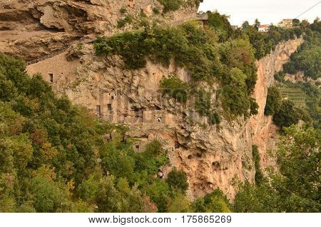 Cliff dwellings along the Amalfi Coast in Italy.
