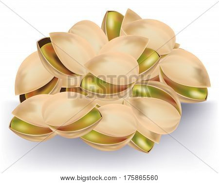Handful of delicious pistachios on white background
