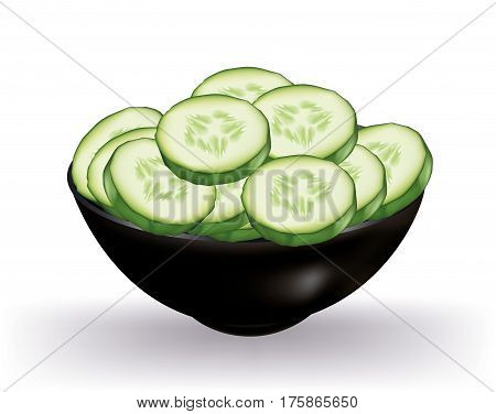 Cucumbers slices in a black bowl on white background