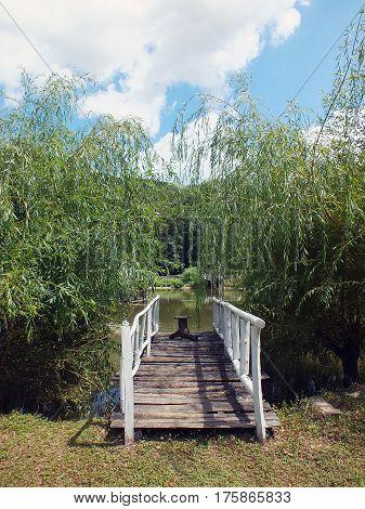 Wooden bridge leading to the lake. Rural scene