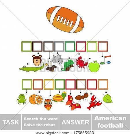 Educational rebus game for preschool kids with easy gaming level to find solution and write the hidden word in grid cells - American football.