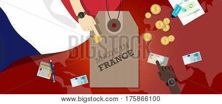 Made in France price tag illustration badge export patriotic business transaction vector