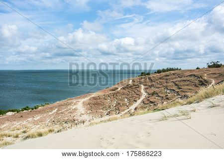 A Path At The Dune Of Nida At Curonian Spit And A View To Sea, Lithuania.