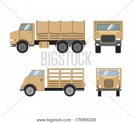 Vector flat set of military heavy trucks.Transport carriage of soldiers..Special military equipment. Vintage army transportation.Army truck.Military transportation.