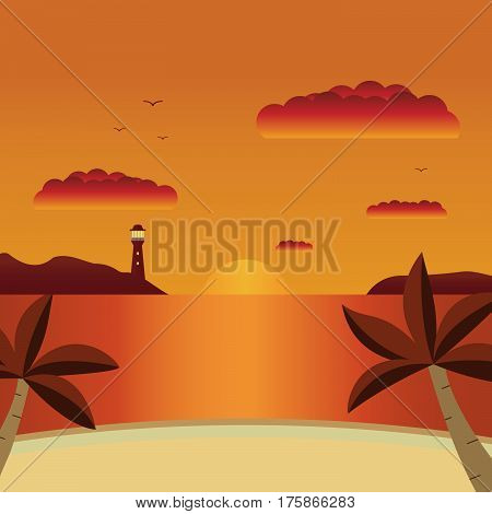 Vector a flat landscape a summer sunset with the beach and palm trees at the sea.Summer card with sunset background.Sunset over the sea.Seascape with a view from a bay on a beacon.