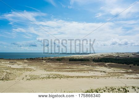 A Panoramic View To Dunes Of National Park Of Curonian Spit And Curonian Lagoon, Lithuania, Border W